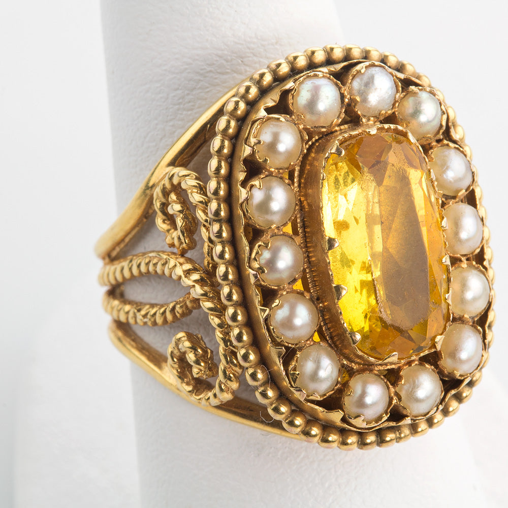 Edwardian 14k yellow gold citrine and pearl ring. rgfn182e