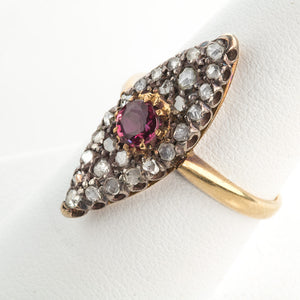 rgfn183-Antique Georgian rose gold Burmese ruby and diamond navette ring