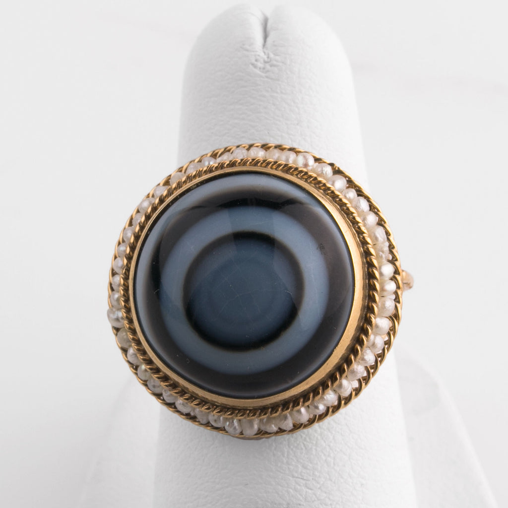 Banded agate and 14k yellow gold ring with seed pearls. rgfn186(e)