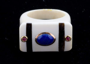 rgiv120-carved pre-ban ivory ring with inlaid lapis, ruby, 14k and onyx size 7.5