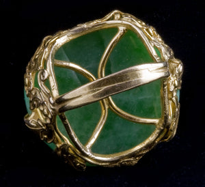 An oriental fantasy of natural green jadeite jade and 22k yellow gold size 7.5. rgja111