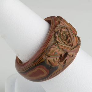 Vintage 1970s Japanese Mokume hand carved lacquered wood ring. Size 6 1/4. rgor113