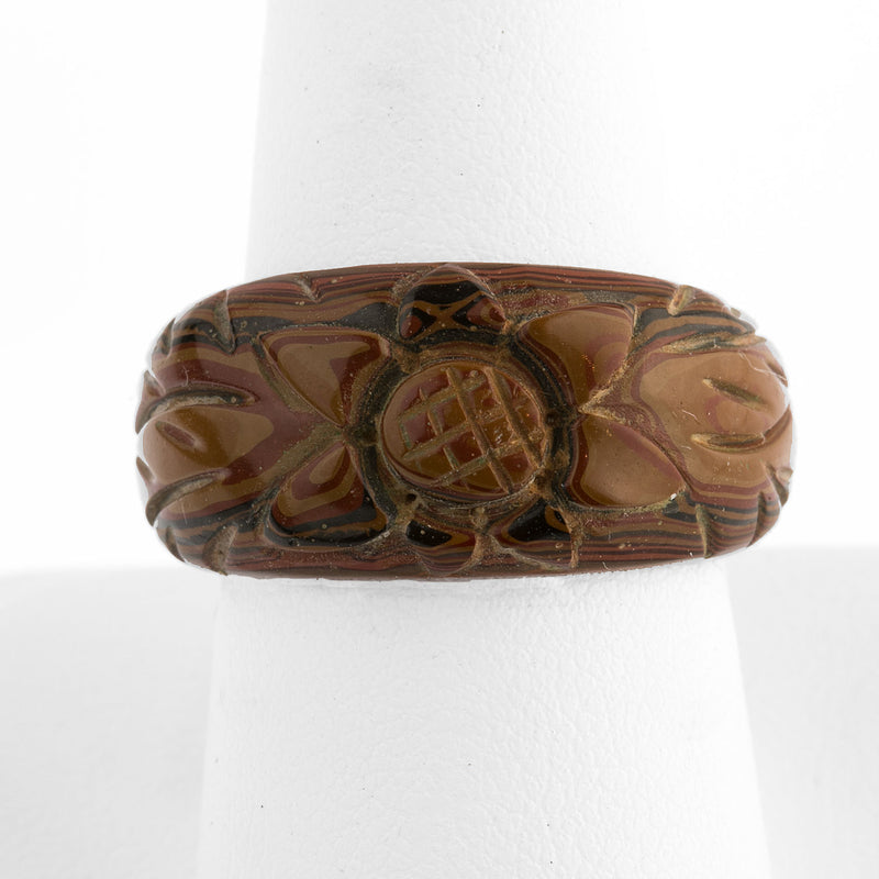 Vintage 1970s Japanese Mokume hand carved lacquered wood ring. Size 7 1/2. rgor123