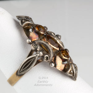 19th century tri color gold and citrine English ladies ring. rgvc110