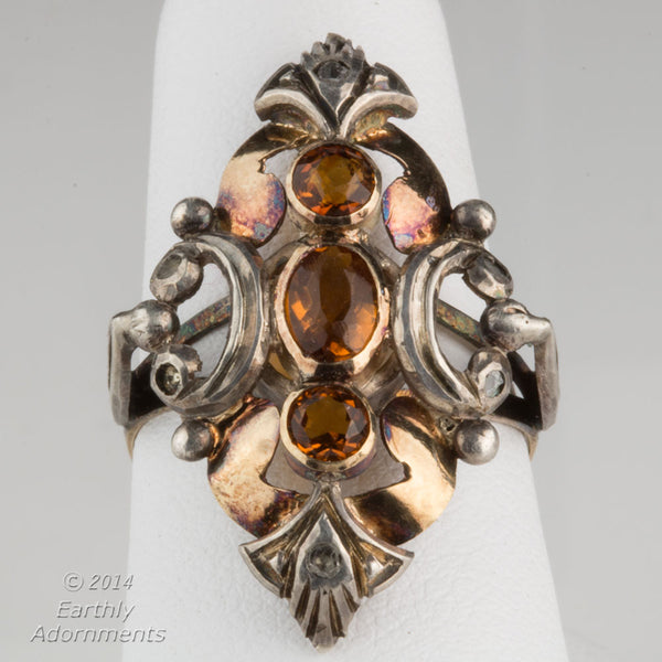 19th century tri color gold and citrine English ladies ring. rgvc110(e)