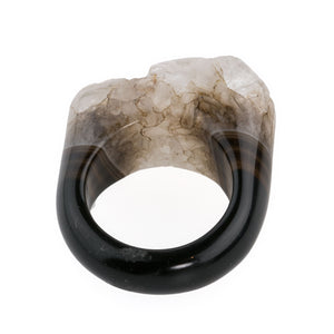 Stunning one of a kind carved agate druzy ring. Size 7. rgvn187cs