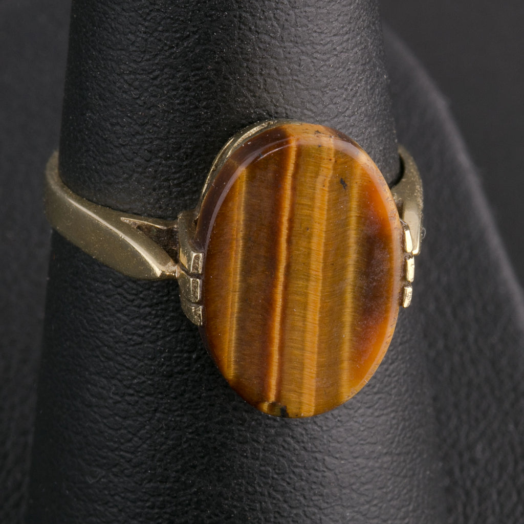 14k yellow gold tiger eye agate ring size 6. rgvs187