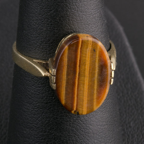 14k yellow gold tiger eye agate ring size 6. rgfn187cs(e)