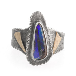 Modern artisan studio ring, black opal, sterling silver and 14k gold size 8, signed. rgvs163cse
