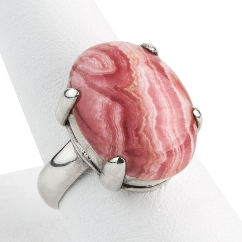 rgvs172cs(e)- Modernist Artisan prong set natural rhodochrosite and sterling silver ring. Size 8.