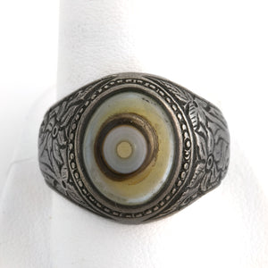 Vintage embossed coin silver Bulls Eye agate man's ring size 10, India. rgvs180cs