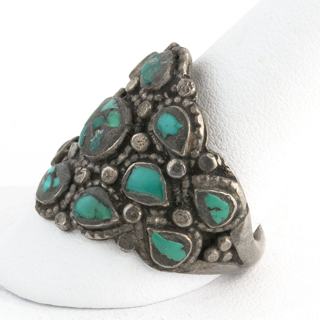 Vintage Tibetan coin silver and turquoise inlay cluster man's ring size 11 rgvs181cs(e)