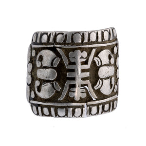 Antique Chinese repousse coin silver ring with longevity symbol. rgvs184