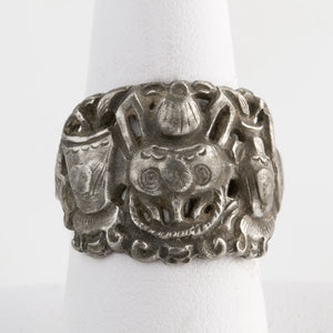 Antique Chinese coin silver ring basket motif. rgvs193