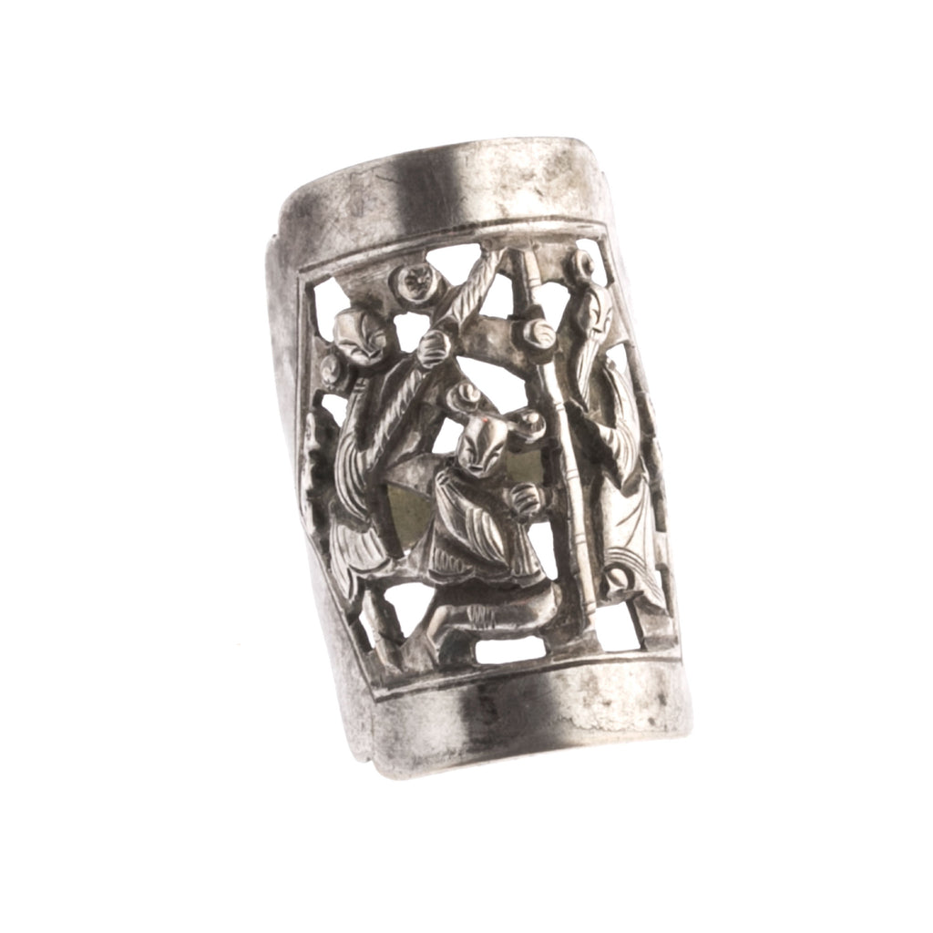 Antique Chinese silver opera souvenir ring. rgvs195