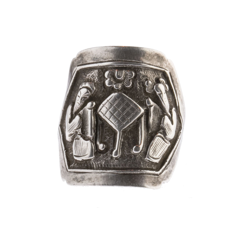 Antique Qing Dynasty Chinese silver opera souvenir ring. rgvs198