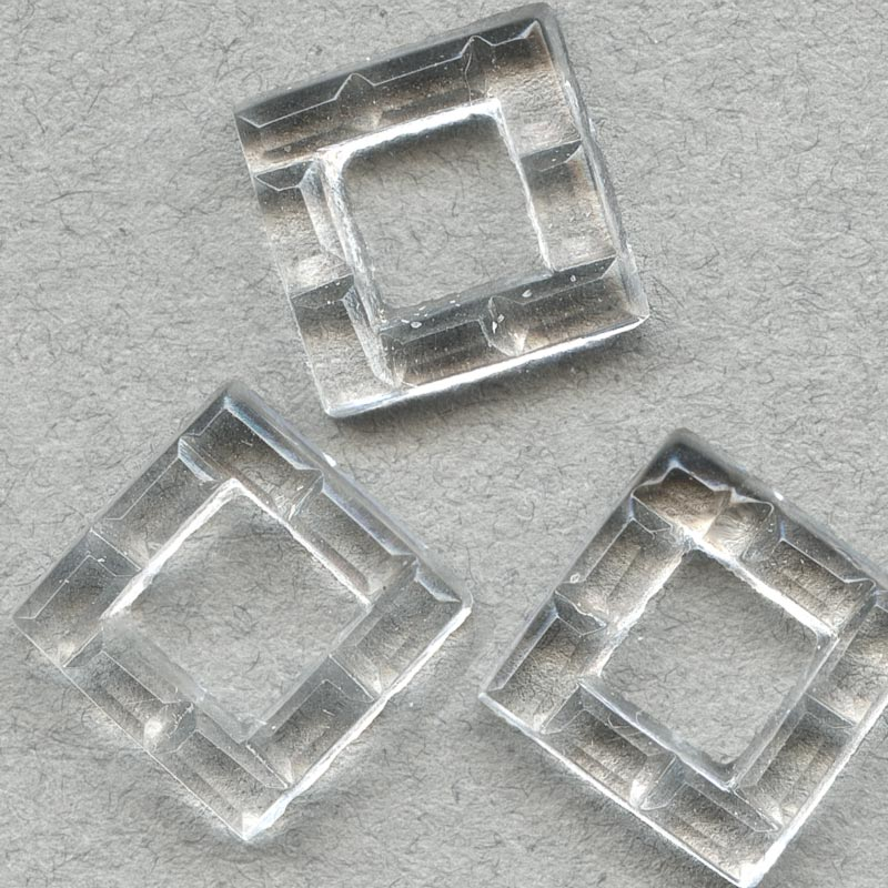 b6-170-Vintage Lucite rings, 11mm square, Pkg. of 10