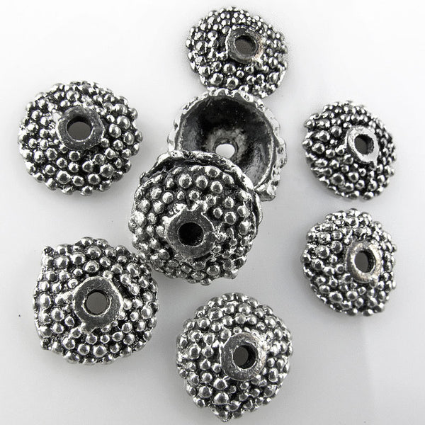 Antiqued silver pewter bead caps with granulated design. 9mm, Pkg of 10. b9-1056(e)