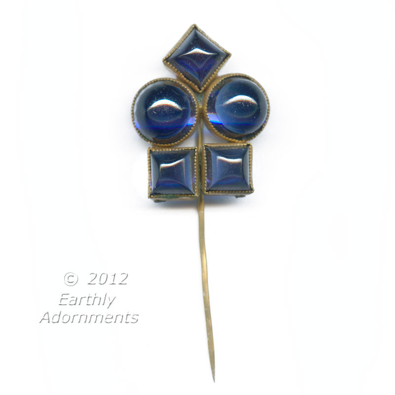 Art Deco brass and blue glass cabochon stick pin. skbg434