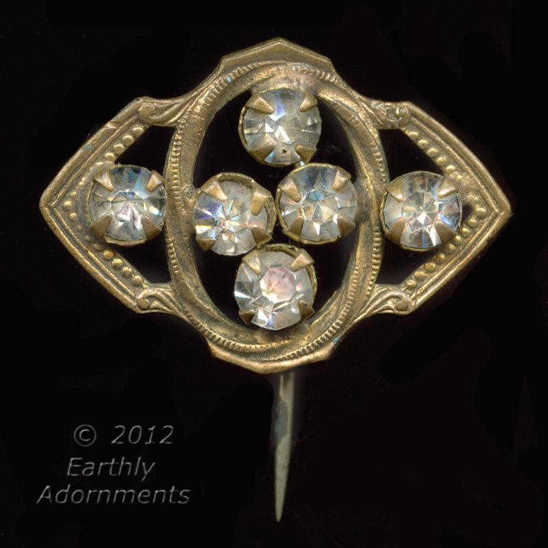 Edwardian gilt brass hatpin with sparkling paste stones. Sked104e