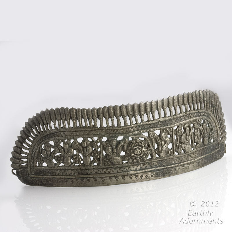 skvs101(e)-Antique Chinese coin silver repoussé wedding crown