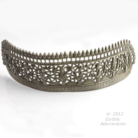 skvs102-Antique Chinese coin silver repoussé wedding crown