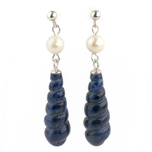 erbd149(e)-Vintage 1960's carved Lapis and Akoya pearl earrings with sterling silver ear wires