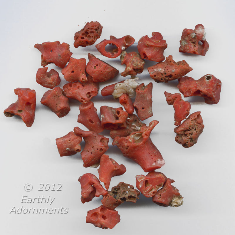 Vintage natural dark red Mediterranean coral nuggets. 10-20mm. 1 28 gram group. b4-cor384(e)