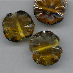 Vintage West German amber glass flower bead. Pkg of 2. B11-YO-0339
