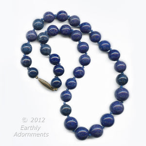Vintage  knotted Afghanistan lapis lazuli necklace, 16.5 inches, with silver vermeil clasp. nlbd1080