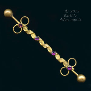 sked105(e)-Edwardian gilt brass and amethyst glass hat and hair ornament