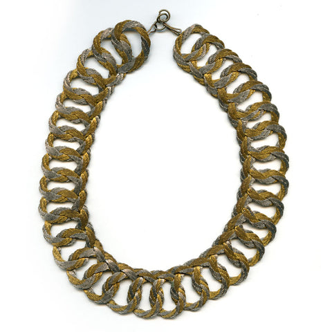nlch158(e)-Mid-century gold and silver fiber woven necklace