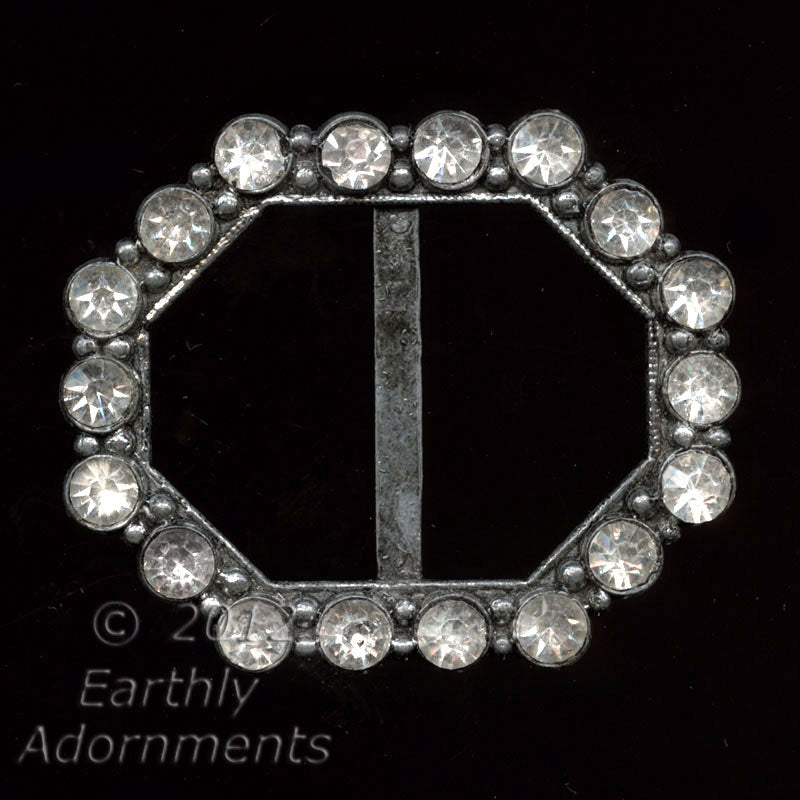 1920s to 30s octagonal rhinestone and base metal buckle. bubg104