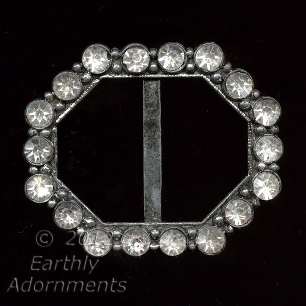 1920's to 30s octagonal rhinestone and base metal buckle. bubg104(e)