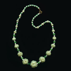 nlbg1076(e)-Vintage molded glass bead necklace 1920-30s Czechoslovakia