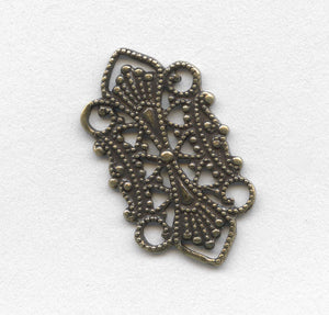 Oxidized brass stamped filigree connector 10x20mm. Pkg of 4. B9-0475(e)