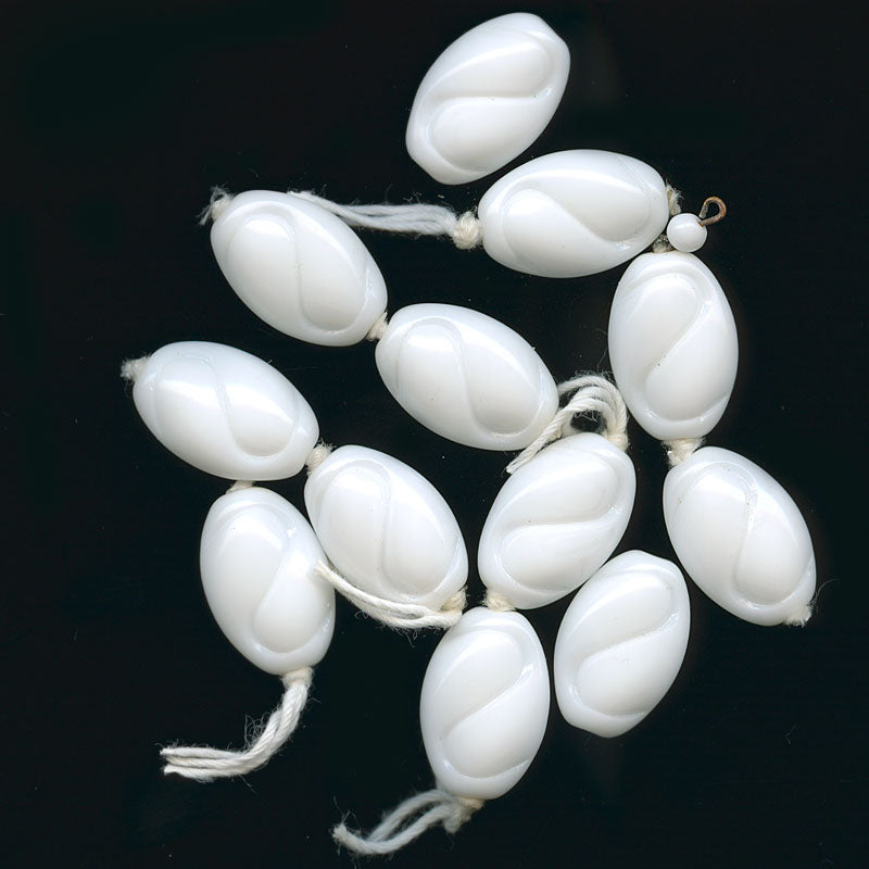 Group of 6 vintage Japanese milkglass flattened oval beads with S impression. b19-0762
