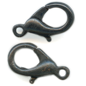Gunmetal finish brass lobster claw clasp 12x7mm. Pkg of 4. b8-257(e)