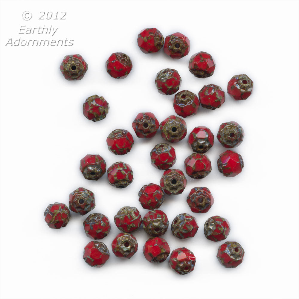 b11-rd-0602-Czech opaque red picasso beads. 6mm. strand of 25