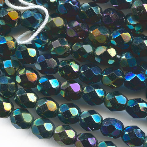 Czech Faceted black iris rounds. 6mm. Strand of 25. B11-MI-0053(e)