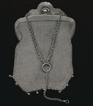 Fabulous Victorian sterling silver chatelaine handbag with serpent design and onyx stone and pearls. hbvc707e