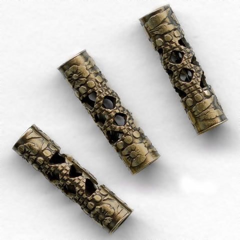 Oxidized brass filigree tube, 14x4mm 2 pcs. b18-0315(e)