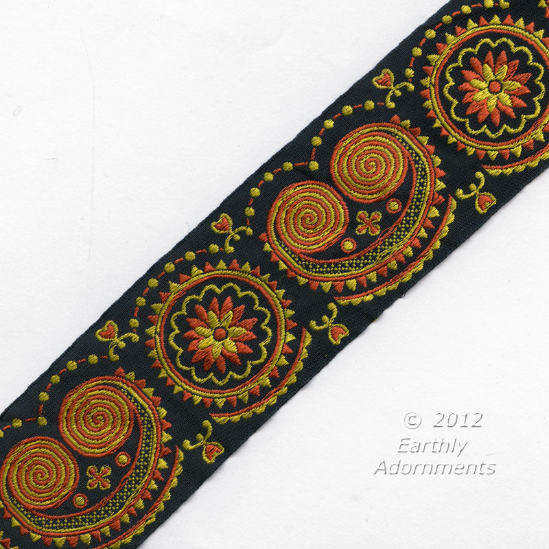 b16-100-French embroidered silk ribbon trim 1950s. 2 inch width. Sold by the yard