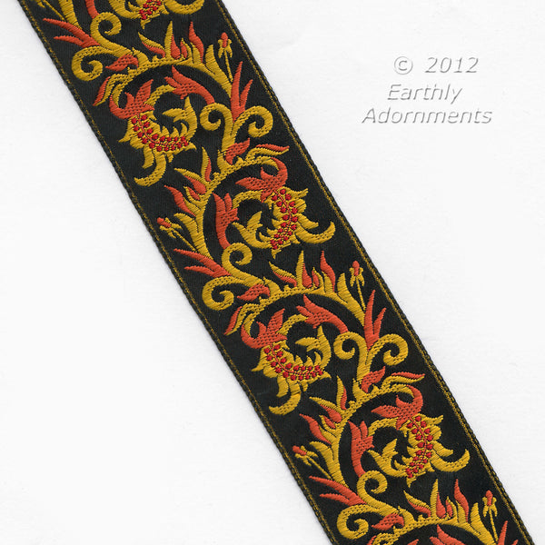 b16-101-French Embroidered silk ribbon trim 1950s. 2 inch width. Sold by the yard