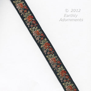 b16-103-French embroidered silk ribbon trim 1950s. 3/4 inch width. Sold by the yard