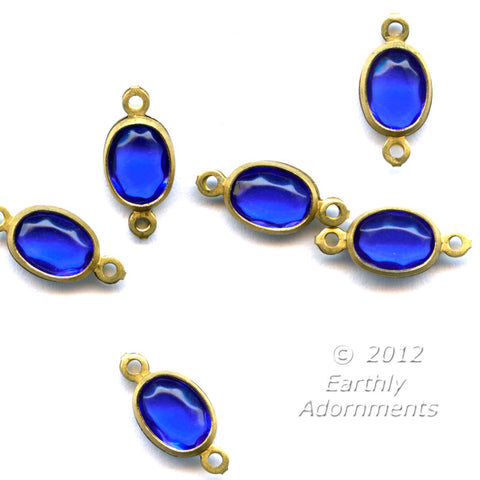 Czech faceted glass sapphire glass oval stone in brass 2 ring channel, 12 x 6 mm, package of 20. b11-bl-2042(e)