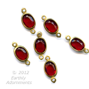 Vintage faceted oval ruby plastic stone in brass 2 ring channel, 12 x 6 mm, package of 20. b11-rd-0857