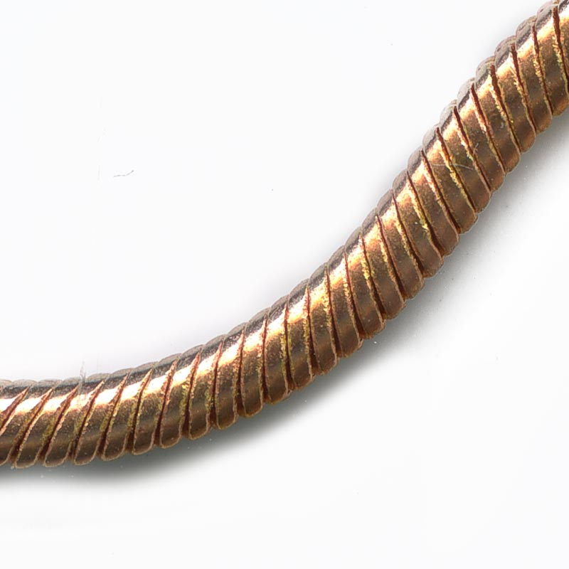 Red brass round snake chain 2mm per foot. b12-chn592(e)