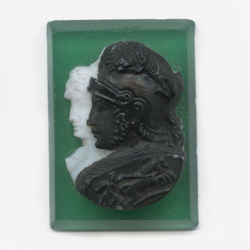 B5-0215-Vintage West German Glass Double Cameo. 16x22mm. Pkg of 1