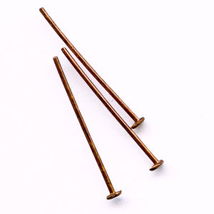 b9-1040-Vintage brass headpins with patina, 1/2mm thick 22mm long 5 gr (approx 45 pins)